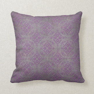 Rustic Purple and Steel Grey Damask Throw Pillow
