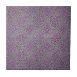 Rustic Purple and Steel Grey Damask Tile
