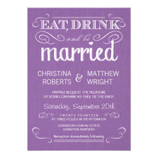 Rustic Purple Burlap Vintage Wedding Invitations