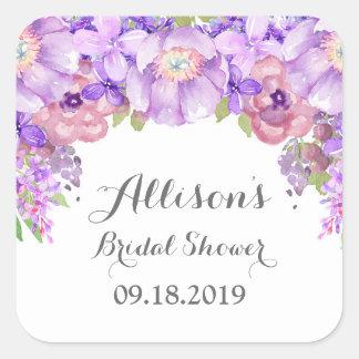 Rustic Purple Floral Bridal Shower Favor Tag Square Sticker