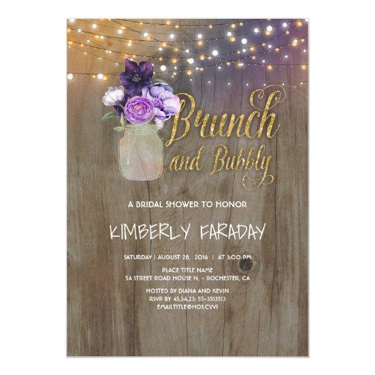 Rustic Purple Floral Mason Jar Bridal Shower Card
