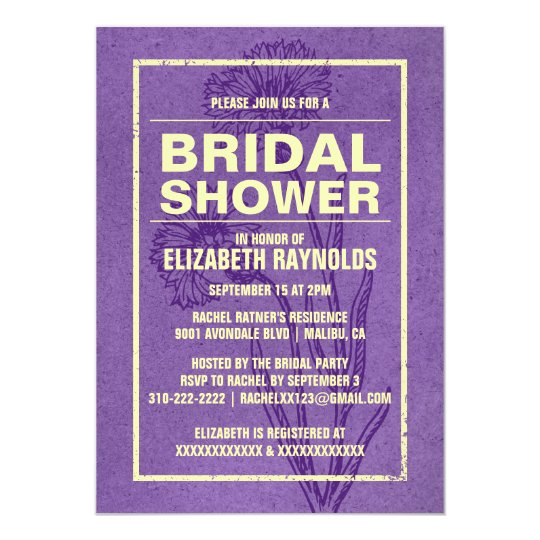 Rustic Purple & Gold Bridal Shower Invitations