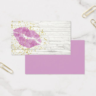 Rustic Purple Lips Business Card Template