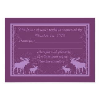 Rustic purple moose swirl custom RSVP cards 13 Cm X 18 Cm Invitation Card