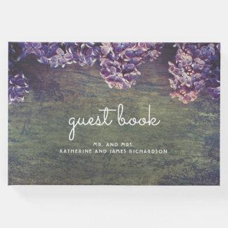 Rustic Purple Spring Lilacs Wedding Guest Book
