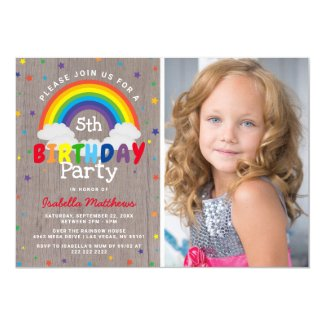 Rustic Rainbow Birthday | Colourful Photo Invitation
