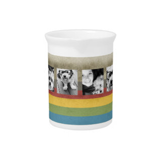 Rustic Rainbow Hipster 4 Photo Custom Collage Drink Pitcher