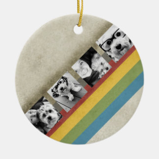 Rustic Rainbow Hipster 4 Photo Custom Collage Round Ceramic Decoration