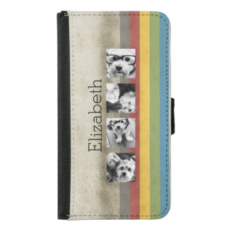 Rustic Rainbow Hipster 4 Photo Custom Collage Samsung Galaxy S5 Wallet Case