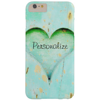Rustic Real Wood with Personalized Heart Barely There iPhone 6 Plus Case