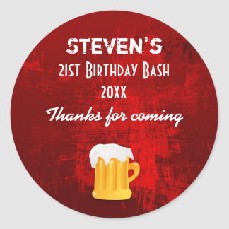 Rustic Red Abstract Birthday Bash with Beer Mug Round Sticker