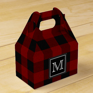 Rustic Red and Black Buffalo Plaid Monogram Favour Boxes