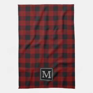 Rustic Red and Black Buffalo Plaid Monogram Tea Towel