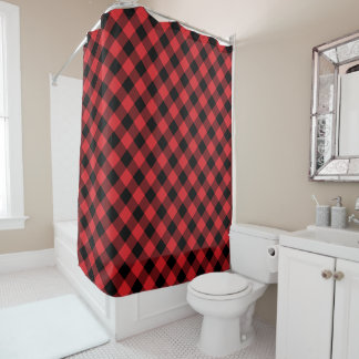 Rustic Red and Black Buffalo Plaid Shower Curtain