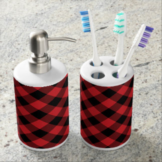 Rustic Red and Black Buffalo Plaid Soap Dispenser And Toothbrush Holder