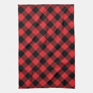 Rustic Red and Black Buffalo Plaid Tea Towel