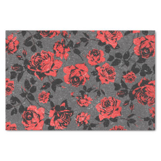 Rustic Red and Black Stem Rose Pattern Tissue Paper