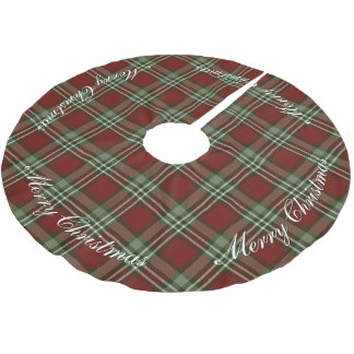 Rustic red and green Christmas tartan plaid Brushed Polyester Tree Skirt