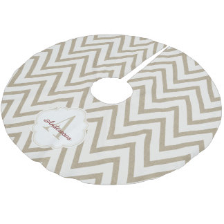 Rustic Red and White Faux Burlap Chevron Pattern Brushed Polyester Tree Skirt