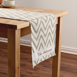 Rustic Red and White Faux Burlap Chevron Pattern Short Table Runner