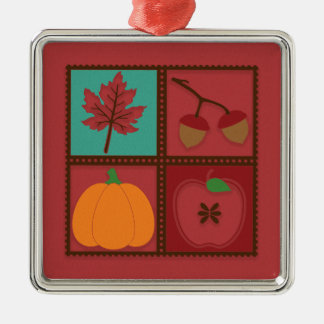 Rustic Red Autumn Leaf Acorns Pumpkin Apple Christmas Ornament