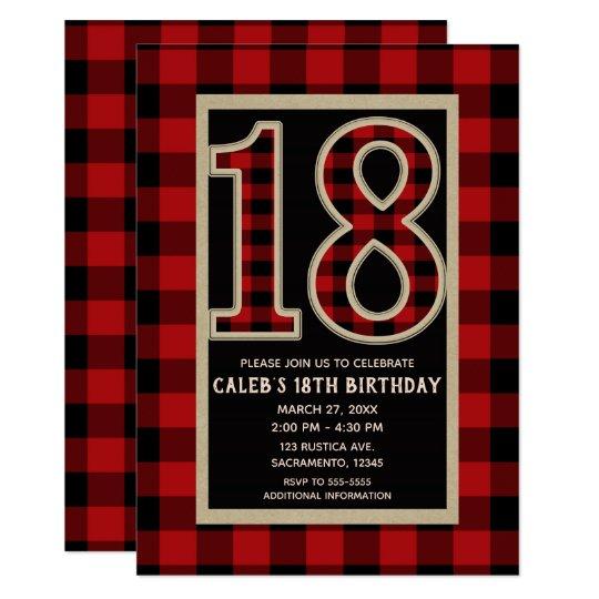 Rustic Red Black Buffalo Plaid 18th 18 Birthday