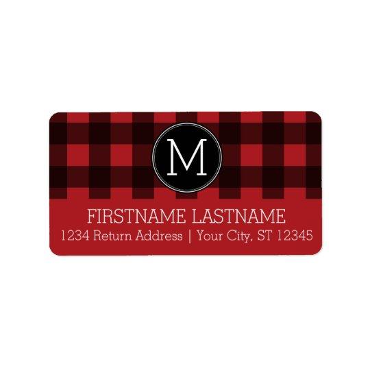 Rustic Red & Black Buffalo Plaid Pattern Monogram Address Label