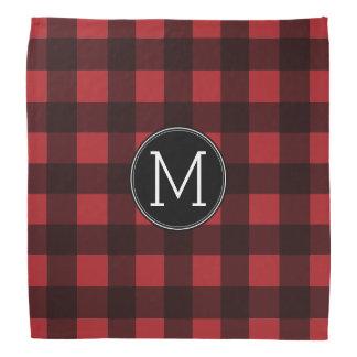 Rustic Red & Black Buffalo Plaid Pattern Monogram Bandanna