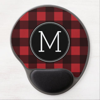 Rustic Red & Black Buffalo Plaid Pattern Monogram Gel Mouse Pads