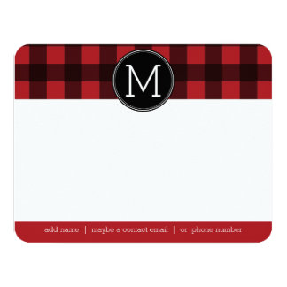 Rustic Red & Black Buffalo Plaid Pattern Monogram Personalized Announcement Card