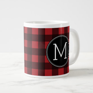 Rustic Red & Black Buffalo Plaid Pattern Monogram Large Coffee Mug
