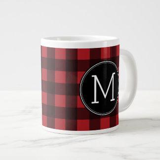 Rustic Red & Black Buffalo Plaid Pattern Monogram Extra Large Mugs
