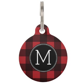 Rustic Red & Black Buffalo Plaid Pattern Monogram Pet Tag