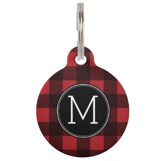 Rustic Red & Black Buffalo Plaid Pattern Monogram Pet Name Tag