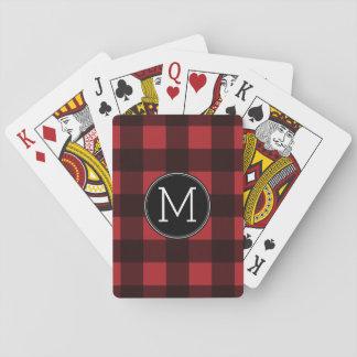 Rustic Red & Black Buffalo Plaid Pattern Monogram Poker Deck