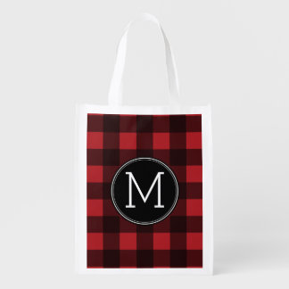 Rustic Red & Black Buffalo Plaid Pattern Monogram Reusable Grocery Bag