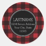 Rustic Red & Black Buffalo Plaid Pattern Monogram Round Sticker