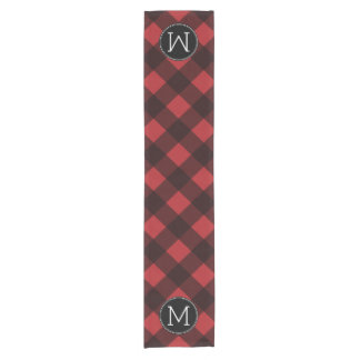 Rustic Red & Black Buffalo Plaid Pattern Monogram Short Table Runner