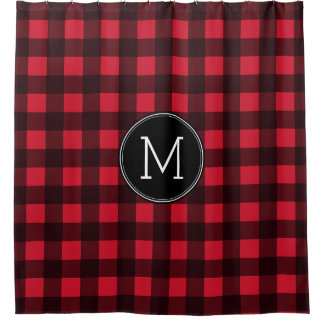 Rustic Red & Black Buffalo Plaid Pattern Monogram Shower Curtain
