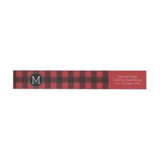 Rustic Red & Black Buffalo Plaid Pattern Monogram Wrap Around Label