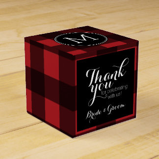 Rustic Red & Black Buffalo Plaid Thank You Wedding Favour Boxes