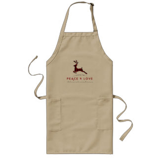 Rustic Red Black Plaid Deer Merry Christmas Script Long Apron