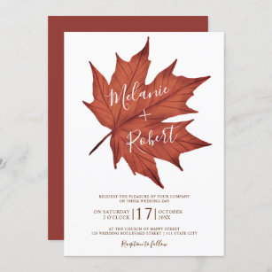 Rustic red brown maple leaf simple wedding initial invitation