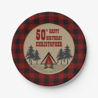 Rustic Red Buffalo Check Camp Camping Birthday 7 Inch Paper Plate