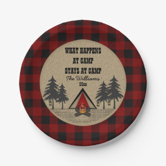 Rustic Red Buffalo Check Camp Camping Party Name 7 Inch Paper Plate