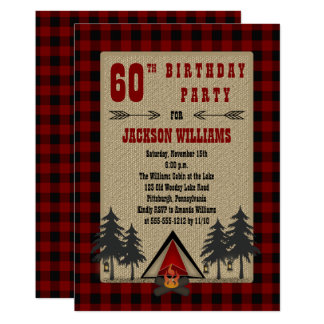 Rustic Red Buffalo Checks Camping Birthday Party 13 Cm X 18 Cm Invitation Card