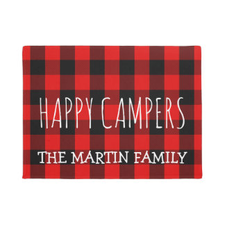 Rustic Red Buffalo Plaid Camping |  Happy Campers Doormat
