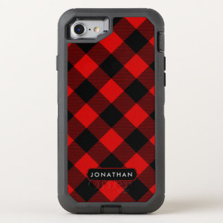 Rustic Red Buffalo Plaid Pattern with Any Name OtterBox Defender iPhone 8/7 Case
