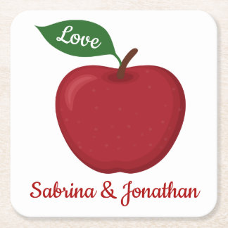 Rustic Red Burgundy Apple Love Wedding Party Square Paper Coaster