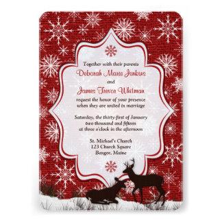 Rustic Red Burlap Snowflakes Deer Wedding Invite